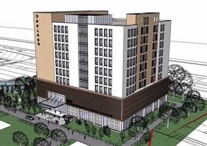 某现代风格详细的完整医院建筑SU(草图大师)模型