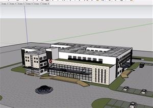 一个医院门诊部详细建筑设计SU(草图大师)模型