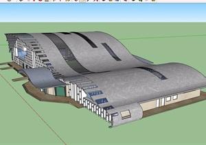某现代风格交通码头车站建筑设计SU(草图大师)模型