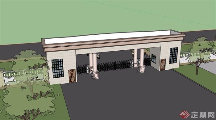 某详细的小区住宅完整围墙大门设计su模型