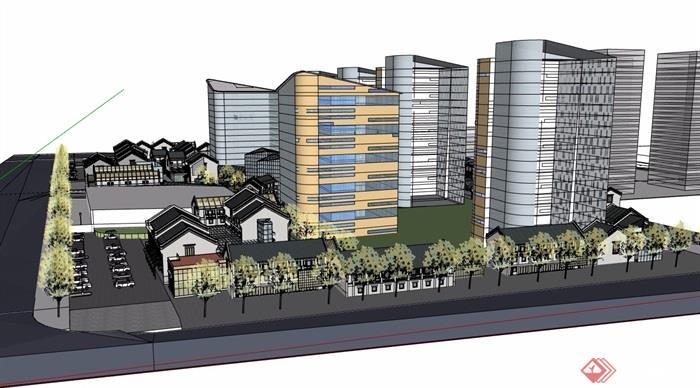 中式风格详细的商业多层建筑楼设计su模型