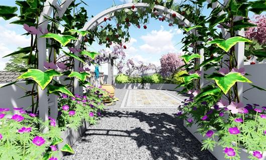 地中海屋頂露臺花園景觀設計su模型