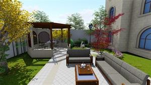 欧式别墅庭院花园景观设计su模型