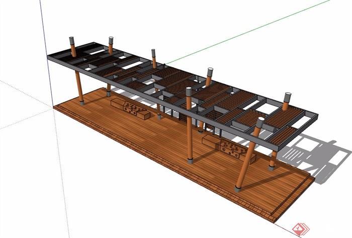 某现代风格防腐木廊架素材设计su模型