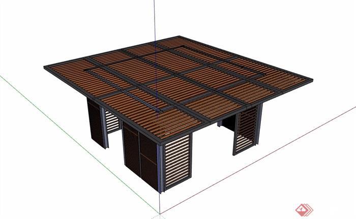 防腐木廊架素材设计su模型