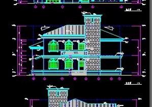 混搭风格二层别墅住宅建筑设计图纸