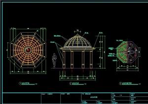 欧式风格详细的廊亭组合设计cad施工图
