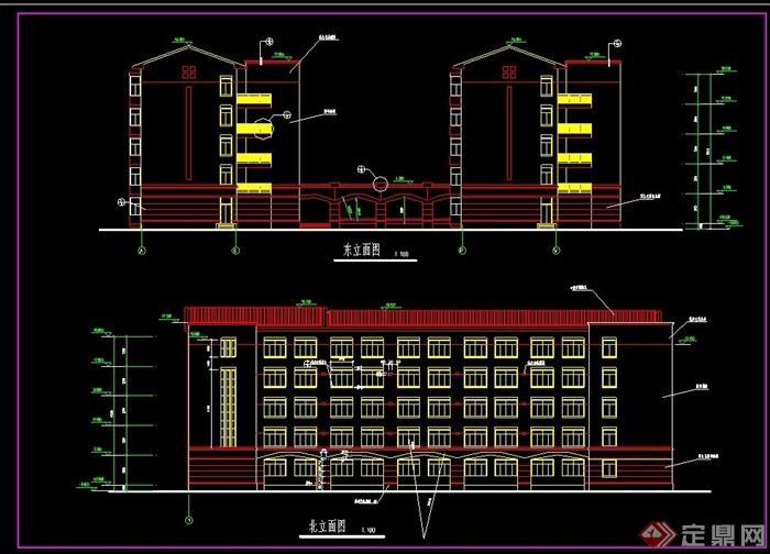 五层详细的学生宿舍建筑cad施工图