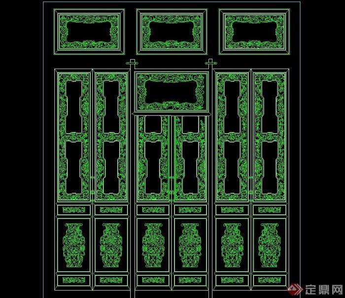 中式6种隔断幕墙设计cad方案