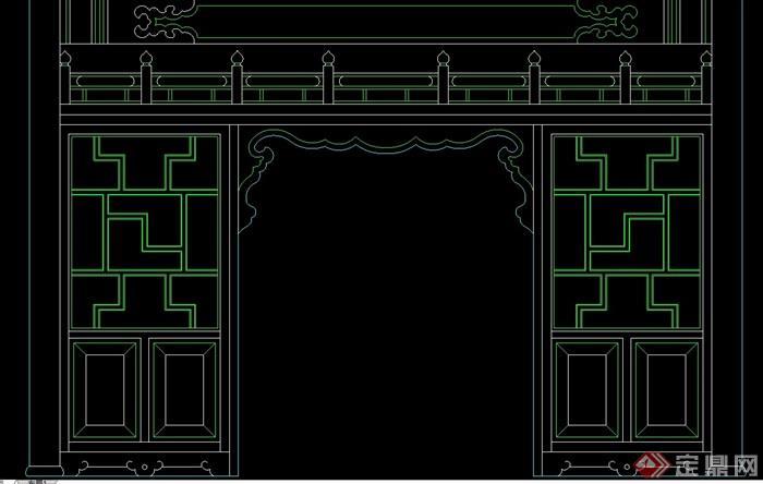 六种中式隔断墙素材设计cad方案