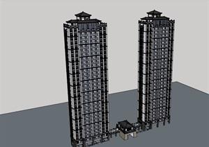 混搭风格详细的住宅楼设计SU(草图大师)模型
