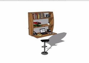 现代风格书桌柜详细完整设计SU(草图大师)模型