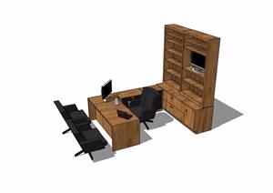 现代风格书桌椅、柜子详细完整设计SU(草图大师)模型