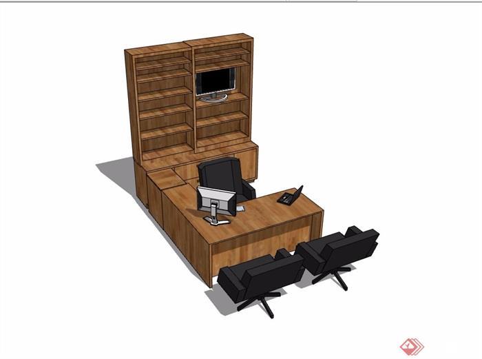 现代风格书桌椅、柜子详细完整设计su模型