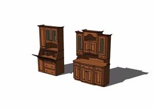 现代风格两个柜子详细完整设计SU(草图大师)模型
