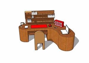 现代风格办公书桌详细完整设计SU(草图大师)模型