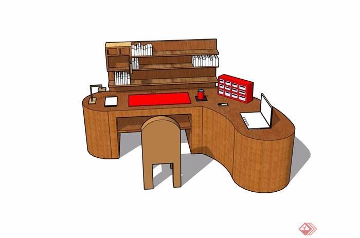 现代风格办公书桌详细完整设计su模型