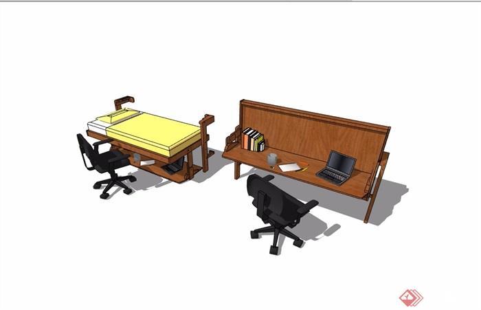 现代风格桌椅详细完整设计su模型