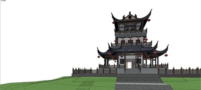 007古建筑樓閣建筑su模型(3)