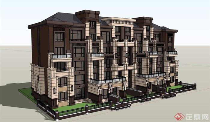 某新古典风格详细多层别墅设计su模型