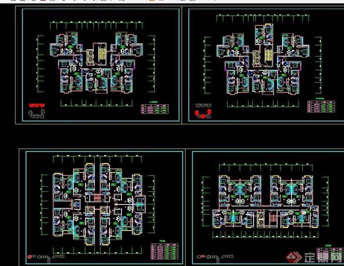 高层住宅平面图cad_高层住宅户型cad平面图