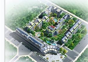 某现代风格多栋住宅楼cad施工图带效果图