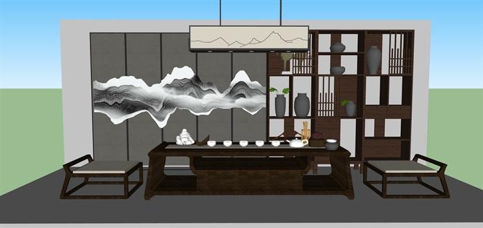 新中式禅意桌椅套装su模型(7)