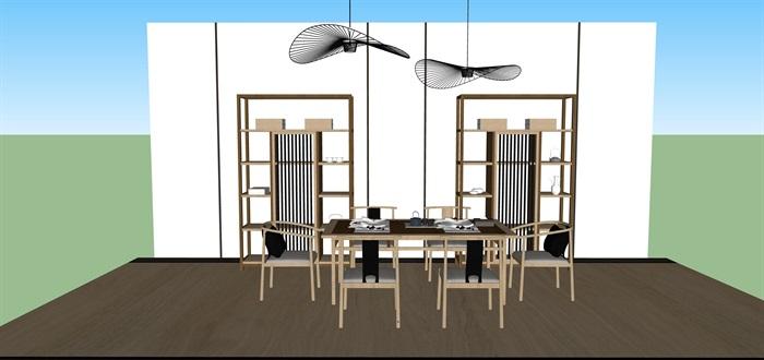 新中式禅意桌椅套装su模型(9)