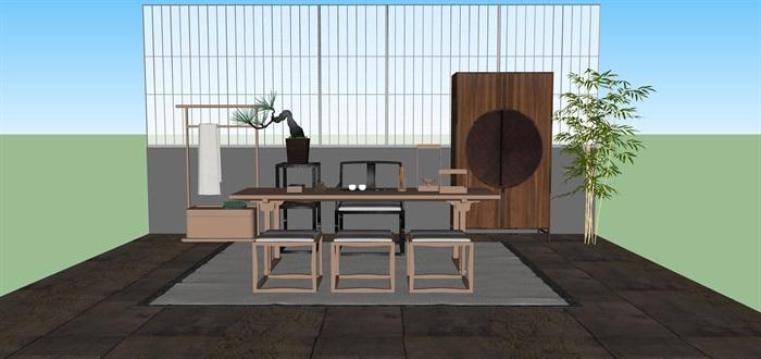 新中式禅意桌椅套装su模型(10)
