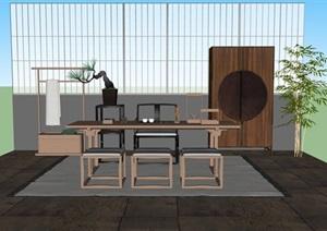 新中式禅意桌椅摆件SU(草图大师)模型