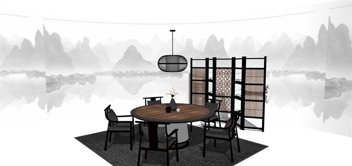 新中式禅意桌椅摆件su模型(3)