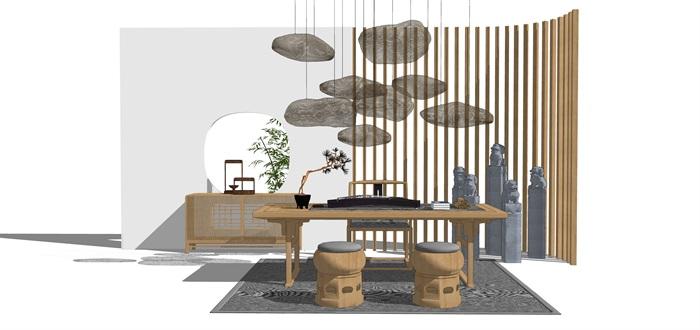 新中式禅意桌椅摆件su模型(5)