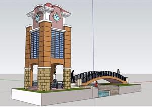 欧式风格园林景观节点钟塔设计SU(草图大师)模型含园桥