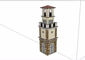 欧式园林景观节点钟塔设计SU(草图大师)模型