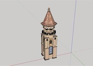 欧式风格园林景观节点塔设计SU(草图大师)模型