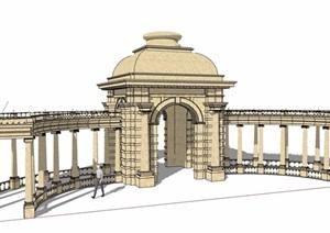 欧式风格景观景观亭廊素材设计SU(草图大师)模型