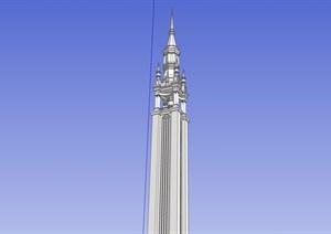 英式风格详细的无材质贴图景观塔设计SU(草图大师)模型