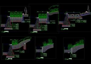 驳岸做法详图(植物驳岸、草坡驳岸、平台驳岸、木桩驳岸)