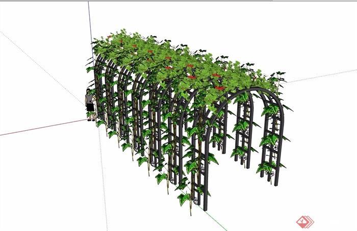 欧式景观休闲铁艺花架设计su模型