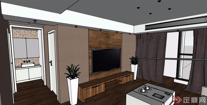 現代風格詳細的住宅室內裝飾設計su模型