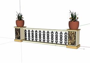 欧式风格详细的装饰栏杆素材设计SU(草图大师)模型