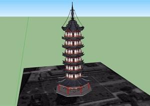 古典中式海塔素材设计SU(草图大师)模型