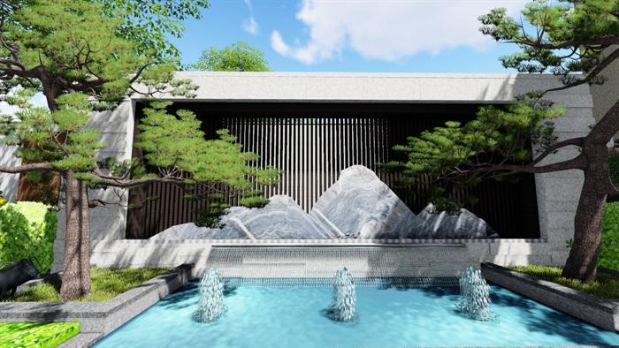 新中式别墅庭院景观设计su模型(5)