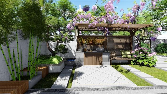 新中式别墅庭院景观设计su模型(11)