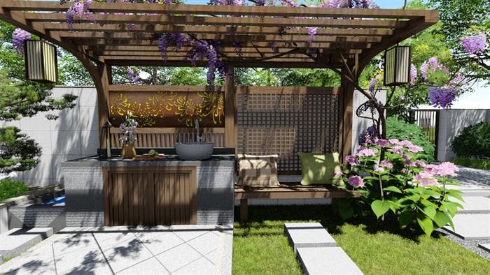 新中式别墅庭院景观设计su模型(12)