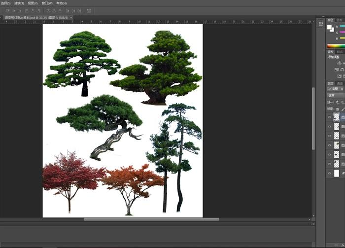植物素材造型树红枫ps素材(1)