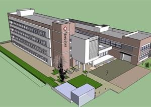 现代风格多层医院建筑楼设计SU(草图大师)模型