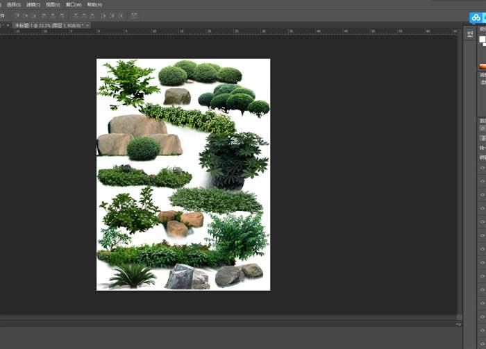 园林景观中灌木色块石头ps素材(1)