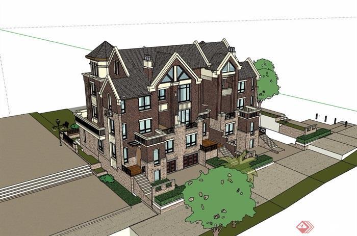 英式风格详细的完整多层别墅设计su模型