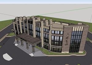 新古典风格详细的售楼处详细完整建筑设计SU(草图大师)模型